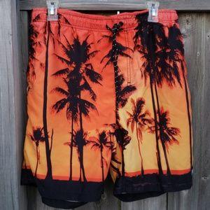 Neff Swim Board Shorts with Tropical Print